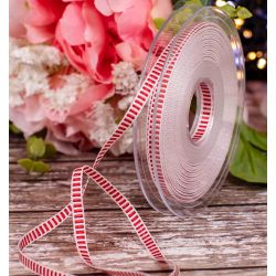 15mm Wide Black and White Grosgrain Ribbon x 20m