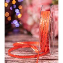 7mm flo orange satin ribbon with silver edge