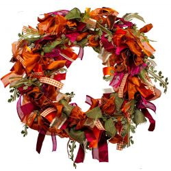 NEW - Ribbon Wreath Kit With Oak Leaf & Autumnal Colour Ribbons