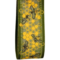40mm wide Green Ribbon With Bee and Honeycomb design