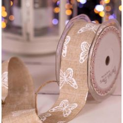 38mm Faux linen Ribbon In Natural With White Butterfly Print