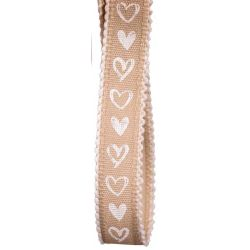 15mm beige taffeta ribbon with white hearts
