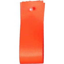 Double Satin Ribbon By Berisfords Ribbons: Flo Orange (Col 6844) - 3mm - 70mm widths