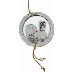 Circular Wooden Hanging Bird with Beads