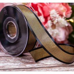 25mm Black & Gold Shine Ribbon By Berisrods Ribbon