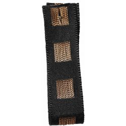 Black Dot Ribbon in Black with Copper Stitched Square Pattern 15mm x 15m. Art 60179