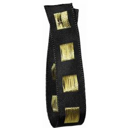 Black Dot Ribbon in Black with Gold Stitched Square Pattern 15mm x 15m. Art 60179