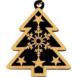 Wooden Christmas Tree With Gold Glitter & Black Velvet Design