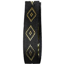 Diamond Taffeta Ribbon in Black with Gold Diamond Pattern 15mm x 20m. Art 60182