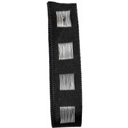 Black Dot Ribbon in Black with Silver Stitched Square Pattern 15mm x 15m. Art 60179