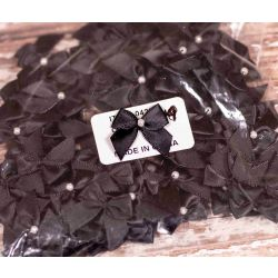 100 x Black bow with plastic pearl centre