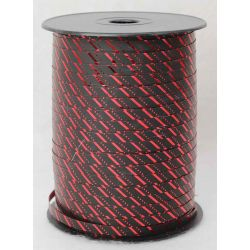 7mm Black Curling Ribbon With Red Stripes x 250yrds