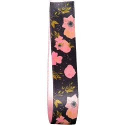 Black Satin Ribbon with a Pink Floral Design 25mm