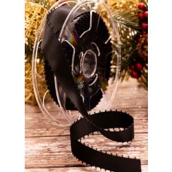 25mm Black Picot Edged Satin Ribbons