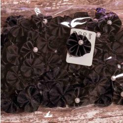 Black Ribbon Rosette With Pearl Centre