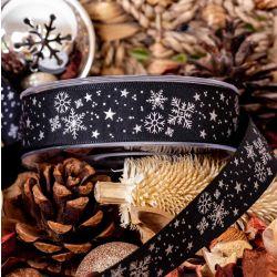 silver and black snowflake ribbon