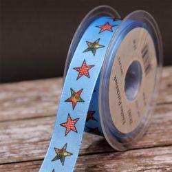 16mm Blue Patchwork Star Ribbon