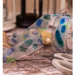 25mm Green & Blue Feather Print On Sheer Ribbon
