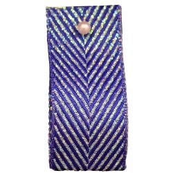 Zig Zag Lame Ribbon Royal Blue and Iridescent 15mm & 25mm.  Art 60170