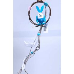 Blue Bunny Wreath With Tails