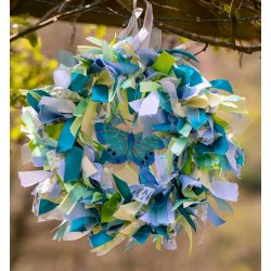 Blue & Green Butterfly Themed Ribbon Wreath