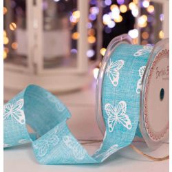 38mm faux linen ribbon in turquoise with white butterfly print