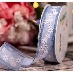 Pale Blue Ribbon with striped edges and printed White Flowers - 25mm x 15m