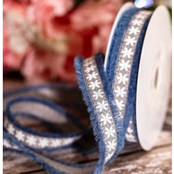 Blue Frayed Edged Ribbon With Floral Design 18mm x 20m