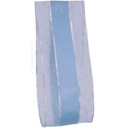 pale blue satin and sheer ribbon