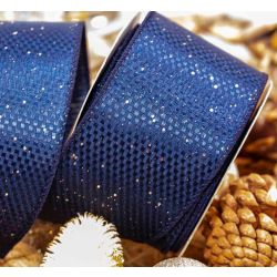 Textured Wire Edged Ribbon in Navy Blue with Gold Sparkle 63mm x 10yrds