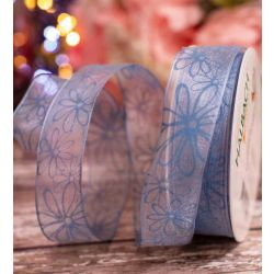 Blue Wired Edged Sheer Ribbon With Blue Floral Print