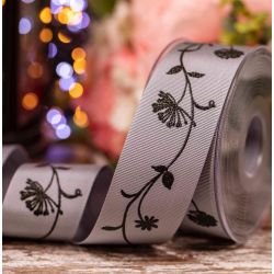 40mm Grosgrain Ribbon With Floral Print In Grey