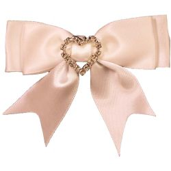 Ivory Bows With Diamante Heart