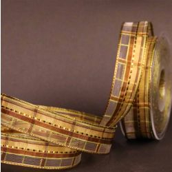 Mixed Green & Bronze Plaid Sheer Ribbon 25mm x 25m