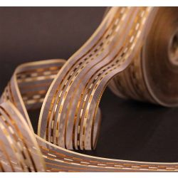 Brown & Cream Stripe Sheer Ribbon 40mm x 20m