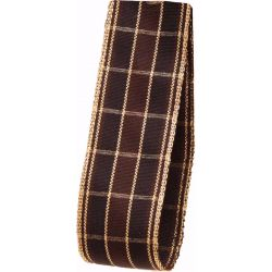 Brown and gold checked ribbon