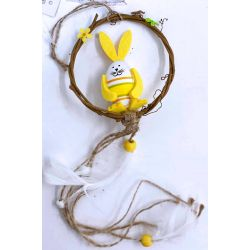 Yellow Bunny Wreath With Tails