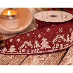 Burgundy Burlap Style Ribbon With Christmas House Design 63mm x 10yrds