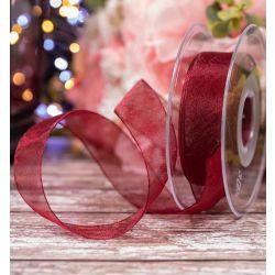 Burgundy Sheer Ribbons | Organza Ribbons 25mm x 25m By Berisfords Ribbons col: 405