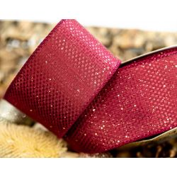 Burgundy Sparkle Ribbon 63mm x 10yrds
