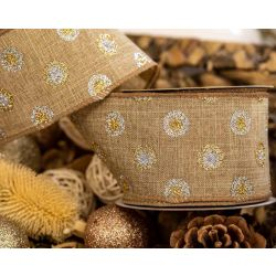 Natural Look Burlap Style Ribbon With Little Circle Design 63mm