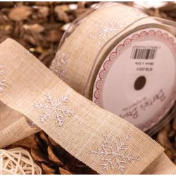 silver snowflake design on a burlap style ribbon