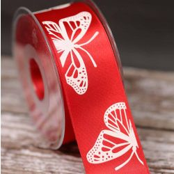 Butterfly Ribbon In Red 40mm