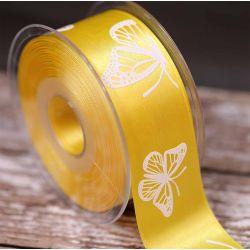 Butterfly Ribbon In Yellow 40mm
