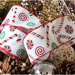 White and red candy cane design Christmas ribbon