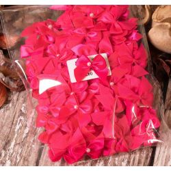 100 Satin Bows In Cerise With Pearl Centre