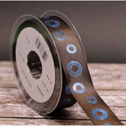 Chocolate Taffeta Ribbon With Metallic Blue Hoops