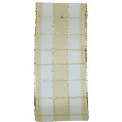 Cream & Gold Wired Edged Christmas Check Taffeta Ribbon x 25m