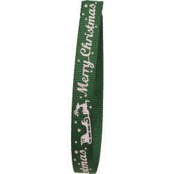 green merry christmas ribbon with Santa sleigh