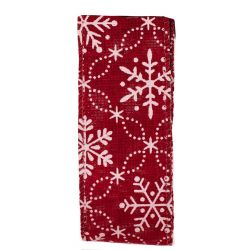 Red Hessian / Burlap Style Christmas Ribbon With Snowflakes 38mm x 10m